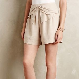 Anthropologie Elevenses Bow Tie Khaki Shorts